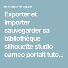 Exporter et Importer sauvegarder sa bibliothèque silhouette studio cameo portait tuto pas à pas - Le blog de la Fée Féerique