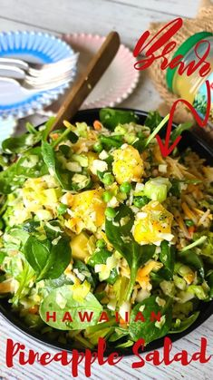 Pineapple Salad, Different Salads, Easy Salads, Healthy Salad Recipes, Vegetable Side Dishes, Seaweed Salad, Lunches And Dinners, Lettuce, Nom Nom