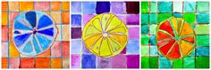 In order to experience the variety of complementary colors we thought to the shape of a lemon cut in half: for each segment, a different shade of color. Even the background checkered became a prete… Elementary Art Rooms, Art Lessons Elementary, Color Art Lessons, Montessori Art, Montessori Elementary, Middle School Art Projects, 5th Grade Art, Principles Of Art, Teaching Art