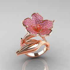 Designer Exclusive 14K Rose Gold Light Pink Sapphire by artmasters