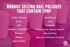 Duke-EWG researchers find evidence of the endocrine disruptor triphenyl phosphate, or TPHP, in women's bodies just 10 to 14 hours after painting their nails. Wellness Tips, Health And Wellness, Health And Beauty, Nail Polish Brands, Nail Polishes, Beauty Without Cruelty, Endocrine Disruptors, Endocrine System, Natural Health
