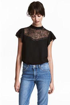 Blusa con canesú de encaje - Negro - MUJER | H&M ES 1