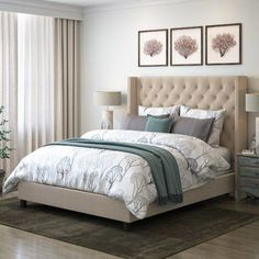 Darby Home Co Debord Tufted Upholstered Panel Bed with Wings Size: King, Color: Beige Bedroom Color Schemes, Bedroom Paint Colors, Grey Bedroom With Pop Of Color, Upholstered Platform Bed, Tufted Bed, Bed Sizes, Girl Room, Bedroom Decor, Decoration