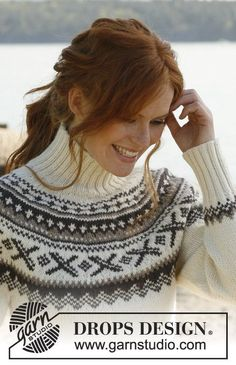 "Ivalo - Knitted DROPS jumper with round yoke and Norwegian pattern in ""Karisma"". - Free pattern by DROPS Design Drops Design, Knitting Designs, Knitting Patterns Free, Free Knitting, Free Pattern, Knitting Club, Fair Isle Knitting, Crochet Woman, Knit Crochet"