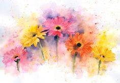 By Rachel Mcnaughton Watercolour/ink Watercolor Print, Watercolour Painting, Watercolor Flowers, Autumn Painting, Love Painting, Art Floral, Aquarell Tattoo, Art Club, Cute Art