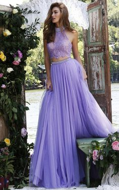A Line Halter Lavender Low-back Chiffon Long Two Pieces Prom Dress