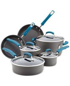 Rachael Ray Hard-Anodized 10 Piece Cookware Set, Marine Blue  - Blue
