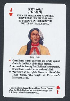 Crazy Horse Native American Indian playing card single jack of hearts - 1 card Jack Of Hearts, Crazy Horse, Native American Indians, Rose Buds, Nativity, Playing Cards, Horses, American Indians, The Nativity