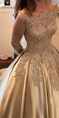 Satin Wedding Dresses Wonderful Satin Off-the-shoulder Neckline Ball Gown Evening Dress With Beaded Lace Appliques Prom Dresses Long With Sleeves, Mob Dresses, Grad Dresses, Bridal Dresses, Fashion Dresses, Formal Dresses, Ball Gowns Evening, Evening Dresses, Pretty Dresses