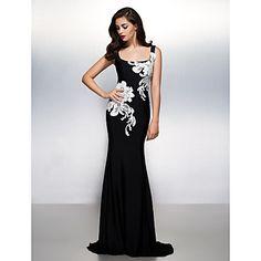 Formeller Abend Kleid Trompete / Meerjungfrau Quadratisch Pinsel Schleppe Jersey mit Applikationen – HKD $ 703.80