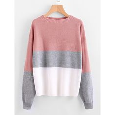 Drop Shoulder Color Block Textured Jumper (€17) ❤ liked on Polyvore featuring tops, sweaters, multicolor, long sleeve jumper, crewneck sweaters, red pullover sweater, loose sweater and crew neck sweater