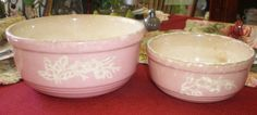 Antique Vintage Pink Cameoware Serving Bowls by by NeldaMaesCloset, $12.50