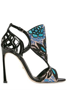 SERGIO ROSSI - 110MM FORTUNY EMBELLISHED PATENT SANDALS - LUISAVIAROMA - LUXURY SHOPPING WORLDWIDE SHIPPING - FLORENCE