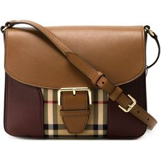 42c7df44962a Tan and dark claret leather Horseferry Check crossbody bag from Burberry.  by farfetch