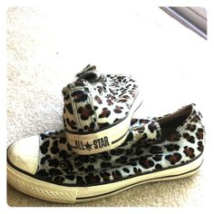 Leopard Converse All Star slip on sneakers! lightly worn, few scuffs on toes, very comfortable, very RARE Converse Shoes Sneakers