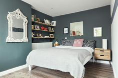 Deirdre's dark, daring cottage on the outskirts of Galway City Cottage House Designs, Cottage Homes, Living Room Kitchen, Dares, Interiors, Interior Design, City, Bed, Furniture