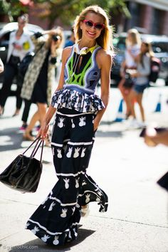 Natalie Joos in Peter Pilotto at NYFW. Prints in street style. omg YES, love the free confidence .. NRB