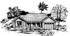 Ranch Style House Plans - 1750 Square Foot Home , 1 Story, 4 Bedroom and 2 Bath, 2 Garage Stalls by Monster House Plans - Plan 41-536