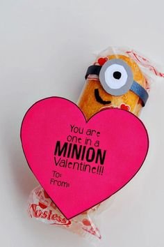 Valentine's Day Cards for Kids - Valentine Cards - Minion Valentine - Fact: You can never go wrong with Minions (especially when they're made of Twinkies). Get the full details and instructions at redbookmag.com.