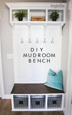 These mudroom storage and entryway storage ideas range in style and budget and will help you to create the perfect mudroom for your unique, small space. entryway storage 17 DIY Mudroom & Entryway Storage Ideas (FOR VERY SMALL SPACES) Diy Zimmer, Diy Casa, Home Organization, Basket Organization, Organizing Ideas, Home Projects, Diy Furniture Projects, Home Remodeling, Basement Renovations