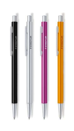 Staedtler – Organizer Pen, Initium Collection. Slim profile triangular aluminium body in black, silver, magenta or orange. Also available as 0.5/0.7mm mechanical pencil.