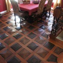 African mahogany and red oak sculpted wood floors. Unique wood flooring!