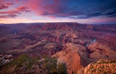 Sunset colors over the South Rim of Arizona's Grand Canyon National Park.