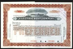 Electric Boat Co., ND ca.1900-20's Specimen Stock Certificate. - Archives International Auctions