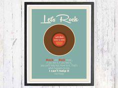 Retro Art Print Lets Rock Reto Poster Wall Decor Art by LooveMyArt