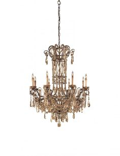 Antiqued Bohemian Crystals Glass Up Chandelier : N950861 | Creative Lighting