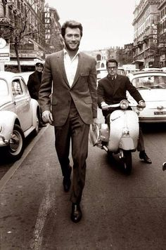 Clint Eastwood, Rome, 1960s - I didn't recognize him because he was smiling...& wearing a suit, not cowboy hat.