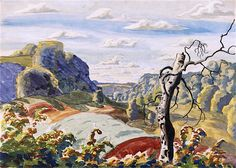 """dappledwithshadow: """" Landscape with Tree Charles Burchfield Date unknown Private collection Painting - watercolor Height: 49.53 cm (19.5 in.), Width: 68.58 cm (27 in.) """""""
