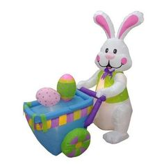 """BZB Goods Easter Inflatable Rabbit Pushing Cart with Eggs Decoration Size: 72""""D"""