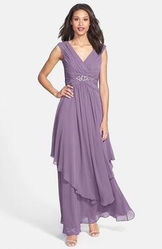 Eliza J Embellished Shirred Chiffon Gown on shopstyle.com