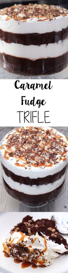 This Caramel Fudge Trifle is all kinds of layers of delicious!