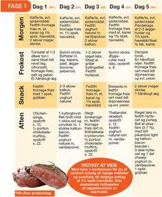 I Dukan-kuren er din madplan delt ind i 4 faser: Angrebsfasen, Vekselfasen, Sikringsfasen og Stabiliseringsfasen. Her en en fødevareliste med alle de tilladte madvarer, og forslag til en madplan under angrebsfasen i Dukan-kuren.