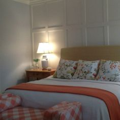Master bedroom Lizziefitz Buffalo check Coral , white and pale blue