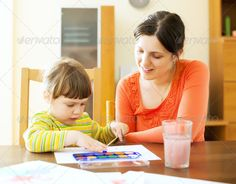 mother and baby drawing on paper ...  activity, adult, art, baby, boy, brush, child, childhood, children, color, creativity, draw, drawing, education, family, fun, girl, girls, happy, home, infant, interior, kid, learning, looking, mother, parent, people, person, play, playful, playing, preschool, toy, watercolor, white, woman