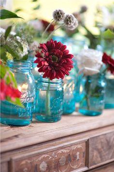 Botanicals & Blue mason jars