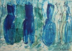 Vino  Bottles  Oil /  Canvas / Drawing xl 2756 x by Kunstmuellerei, €330.00