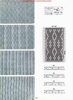 Brother № 5 Knitting Machine Patterns, Knitting Charts, Lace Knitting, Knitting Stitches, Shibori, Wire Crafts, Knit Fashion, Master Class, Textures Patterns