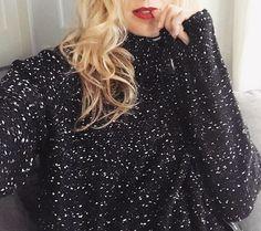 Black Speckled Turtleneck Sweater
