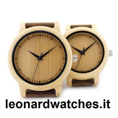 Natural Bamboo Watch For Couple  Case Shape:  Round    Band Material Type:  Leather    Boxes & Cases Material:  Paper    Dial Diameter:  40mm    Case Material:  Bamboo    Clasp Type:  Buckle    Case Thickness:  10mm    Band Width:  20mm    Movement:  Quartz    Band Length:  25cm  http://www.leonardwatches.it/products/natural-bamboo-watch-for-couple