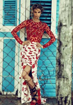 Kate Bock looks red-hot in Oscar de la Renta lace top and floral print skirt for Telva Magazine June 2016 issue