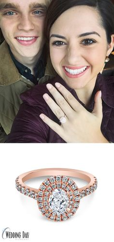 We're so in love with Rachel's new engagement ring! It's so gorgeous <3 From the rose gold to the double halo and oval cut diamond it's the perfect combination of modern and classic
