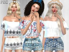 A lovely set with precious tops and jeans shorts,and beautiful nails. Found in TSR Category 'Sims 4 Sets'