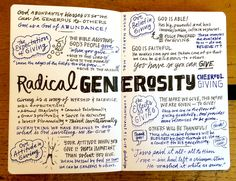 Sketchnote of today's message at from pastor - Radical Generosity: Part Giving with a Joyful Heart. Visual Note Taking, Sketch Notes, Faith In God, Giving, Bible, Messages, Joyful, Instagram, Heart