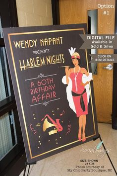 Harlem Nights Welcome Sign 11 X 17 24 x 36 or 20 X 30 Gatsby Theme, Gatsby Party, Gatsby Wedding, Wedding Dress, 40th Birthday Parties, Anniversary Parties, Birthday Ideas, Birthday Celebrations, Cabaret