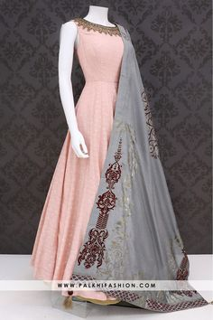 Palkhi fashion exclusive light peach soft silk indian outfit enriched with attractive grey art silk dupatta with attractive applique & embossed work