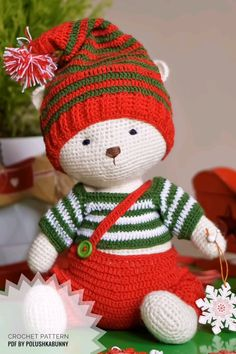 Christmas ideas - Crochet pattern pdf - Traditional Christmas Outfit for Bear Toy/ Crochet Tutorial / animals by PolushkaBunny Christmas Crochet Patterns, Holiday Crochet, Crochet Patterns Amigurumi, Stuffed Animal Patterns, Diy Stuffed Animals, Knitted Dolls, Crochet Dolls, Crochet Decoration, Plush Pattern